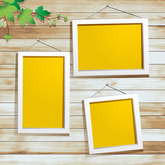 White photo frame on wood background, Vector