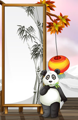 A panda with a bamboo-designed frame