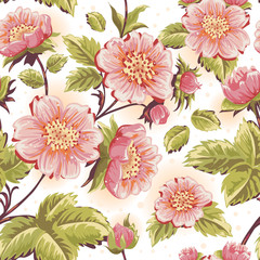 Romantic seamless texture with beautiful flowers