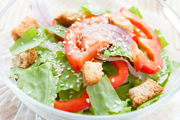 light vegetable salad with croutons and sesame