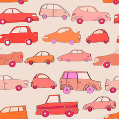 Cute cartoon cars in red seamless pattern, vector