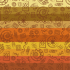Tribal art. Colorful african seamless pattern.