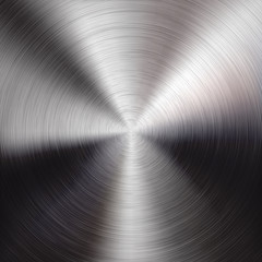 Fototapete - Metal Background with Circular Brushed Texture