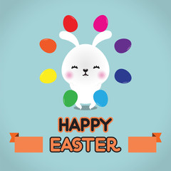 Easter rabbit with Easter egg , vector illustration