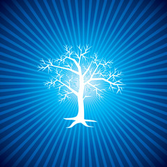 white tree with blue background