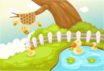 landscape cute duck and bees