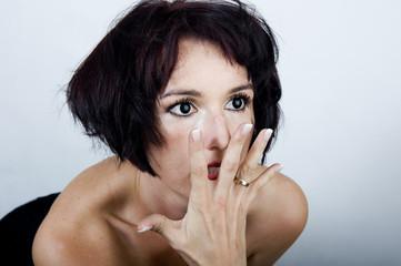 Obraz Zmysłowa kobieca twarz - fototapety do salonu