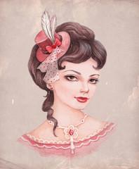 Watercolor retro fashion illustration