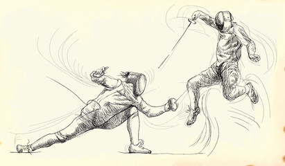 fencing duel - hand drawing into vector