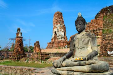 Ancient Buddha statue of Wat Mahathat in Ayutthaya, Thailand.
