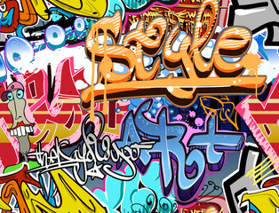 Fotobehang Graffiti Graffiti wall. Urban art vector background. Seamless texture