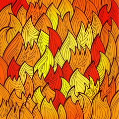 Stylized bright fire background with abstract flames Eps10