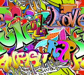 Graffiti wall. Urban art vector background. Seamless pattern