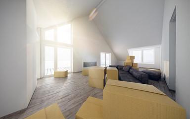 Einzug Umzug Neubezug Erstbezug Dachgeschoss