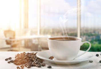 sunny morning with cup of coffee