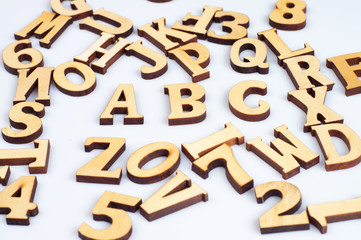 Wooden abc letters