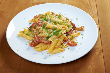 Italian Penne rigate pasta with