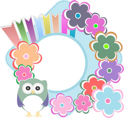 Seamless retro flowers owl kids illustration background pattern
