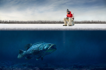 Photo on textile frame Fishing Ice fishing