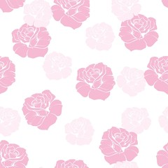 Seamless vector floral pattern pink rose background