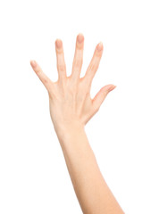 Manicured female hand gesture number five fingers up