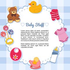 Objetos de bebé formando un marco