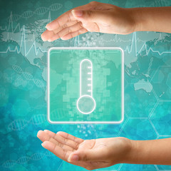 Medical icon Thermometer in hand