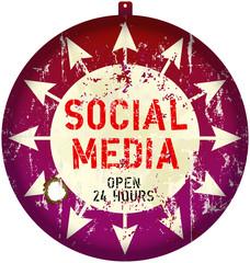 vintage social media sign or button, grungy, vector