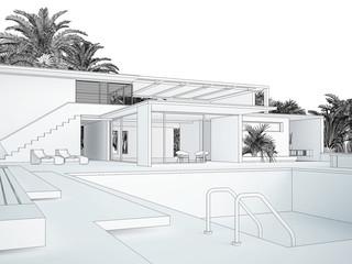 Villa CAD 3D Rendering 1
