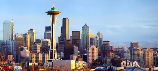 Seattle skyline panorama at sunset, WA, USA Wall mural