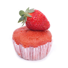 Dessert. Muffin with fresh strawberries isolated on white