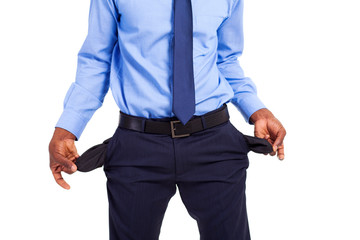african american businessman with empty pockets