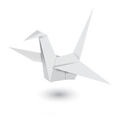 Illustration of origami crane isolated on white background