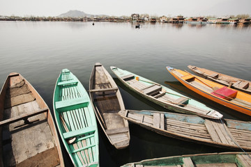 Shikaras in a lake,Dal Lake,Srinagar,Jammu And Kashmir,India