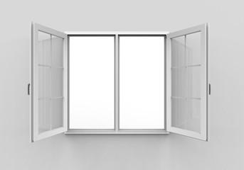 Opened Plastic Window on White Background