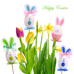 Spring flowers and rabbits