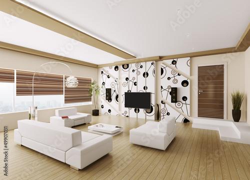 modern wohnzimmer interior 3d render stockfotos und. Black Bedroom Furniture Sets. Home Design Ideas