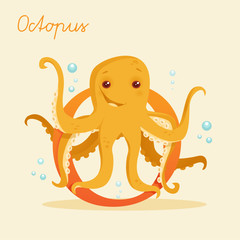 Animal alphabet with octopus  vector illustration