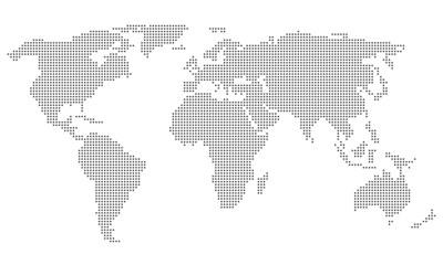 Acrylic Prints World Map Dotted World Map