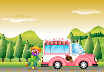 The clown and the pink icecream bus