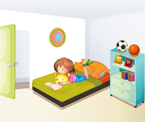 A girl studying in her clean bedroom