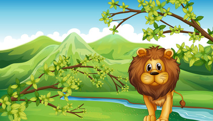 The mountain view with a lion and a river