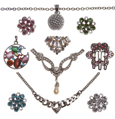 collection of jewelery bijouterie isolated of white