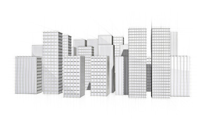 architectural drawing of city with skyscraper