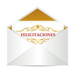 Congratulations sign inside an envelope