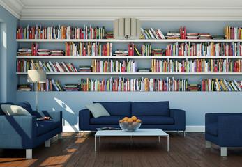 Wohnzimmer mit Bibliothek