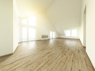 Leere Wohnung mit Parkettboden und Galerie 3D