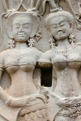 Stone carving of classical Khmer construction at Angkor Wat