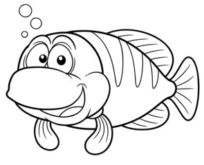 illustration of Cartoon fish - Coloring book