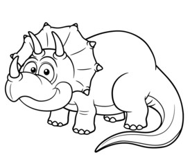 illustration of Cartoon dinosaur - Coloring book